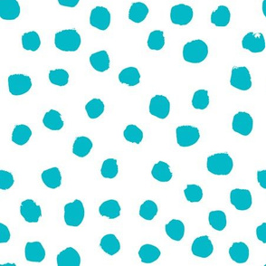 turquoise painted dots fabric