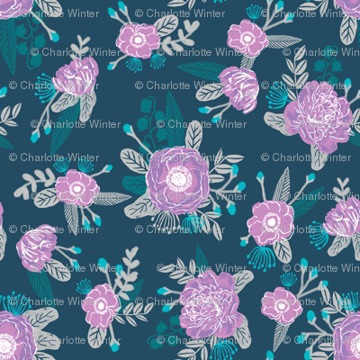 floral design purple and turquoise flowers floral fabric