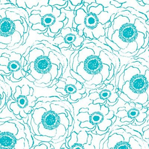 turquoise florals fabric