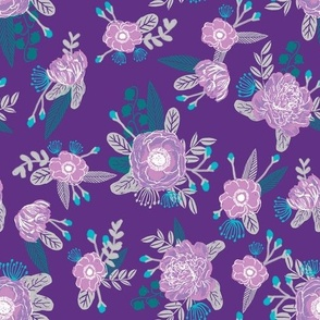 floral fabric purple and turquoise design flowers florals