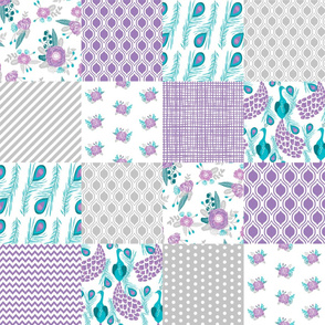 cheater quilt grey lavender and turquoise pastel nursery baby girl