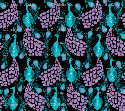 peacock fabric girls nursery baby design  turquoise purple