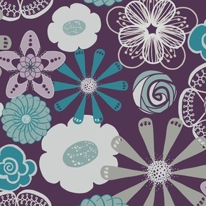 Large Floral in Purple, Aqua, and Gray by Amborela