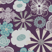 Large Floral in Purple, Aqua, and Gray