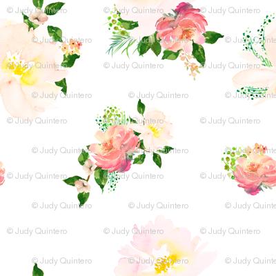 "8"" Floral Flamingo Flowers / White"