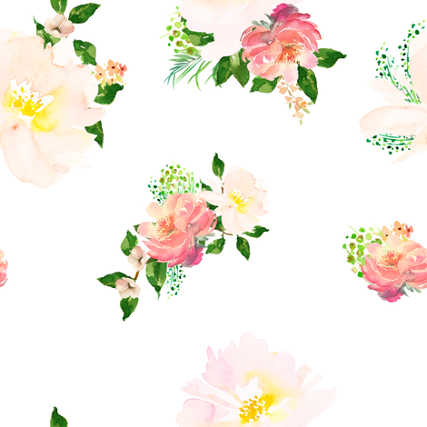 """8"""" Floral Flamingo Flowers / White fabric by shopcabin on Spoonflower - custom fabric"""