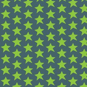 Green Stars on Grey Half Drop Repeat