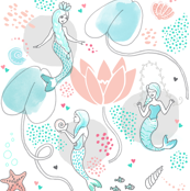 Mermaids and Water Lilies White