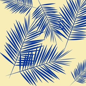 Palm leaves - cobalt on pastel yellow Palm tree tropical plant