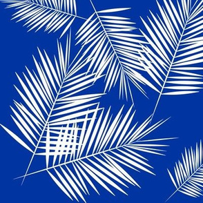 Palm leaf - cobalt blue, tropical palm tree Palm leaves