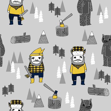 lumberjack fabric // woodcutter woodland forest illustration fall autumn design by andrea lauren fabric by andrea_lauren on Spoonflower - custom fabric