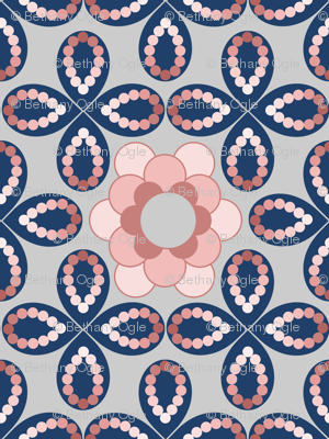 Peach and Blue Flowers and Beads by Amborela