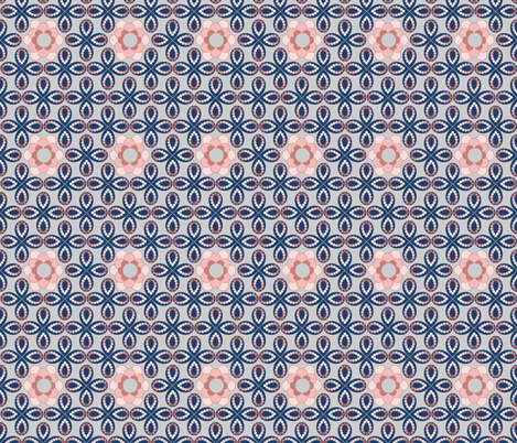 Peach and Blue Flowers and Beads by Amborela fabric by amborela on Spoonflower - custom fabric