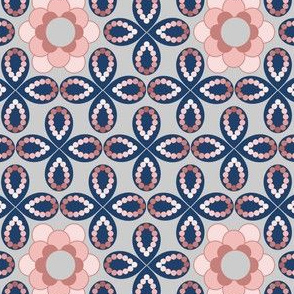 Peach and Blue Flowers and Beads