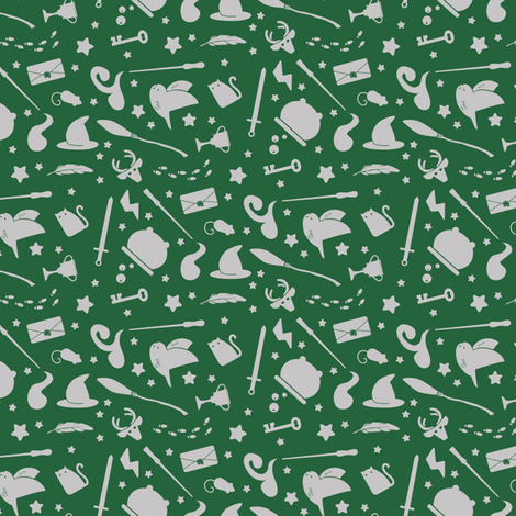Wizardry - Gray on Green fabric by robinskarbek on Spoonflower - custom fabric