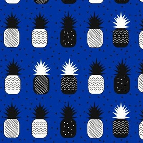 Geometric pineapples - black and white on cobalt blue tropical fruit