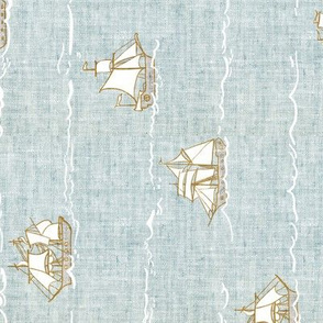 Fable Fleet (duck egg blue linen) Railroad