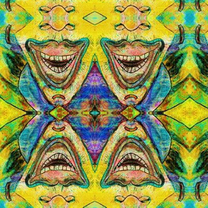 TIKI JUST A TRIBAL KALEIDOSCOPIC SMILE TRIANGLE LOZENGE