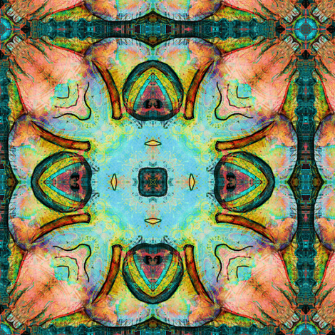 TIKI TRIBAL SQUARE 2 TURQUOISE CORAL fabric by paysmage on Spoonflower - custom fabric