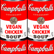 parody satire jokes gags andy warhol inspired campballs campbell's soup inspired vegetarian condensed vegan chicken soup cans pop art vintage retro