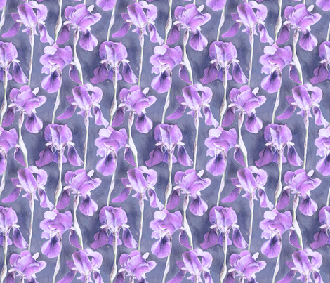 Simple Iris Pattern in Pastel Purple Small Print fabric by micklyn on Spoonflower - custom fabric