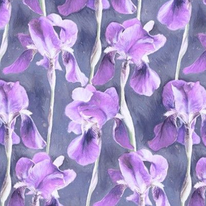 Simple Iris Pattern in Pastel Purple Small Print