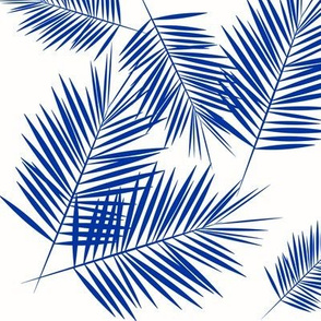 Palm leaves - cobalt on white
