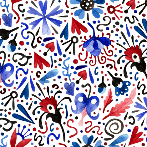 red and blue party fabric by marta_strausa on Spoonflower - custom fabric