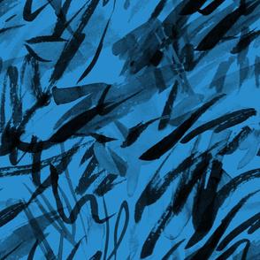 Black on Blue Ink Brush Marks