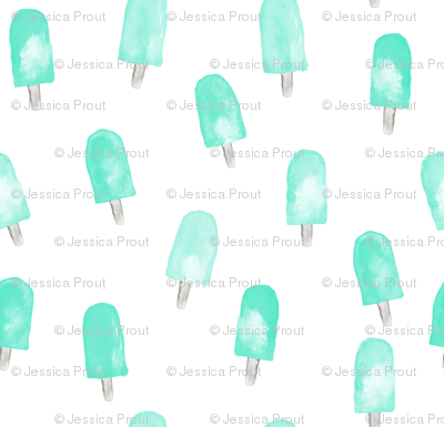 watercolor popsicles - minty