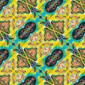TIKI TRIBAL DIAGONAL STRIPES 1  ABSTRACT BUTTERFLY YELLOW TURQUOISE