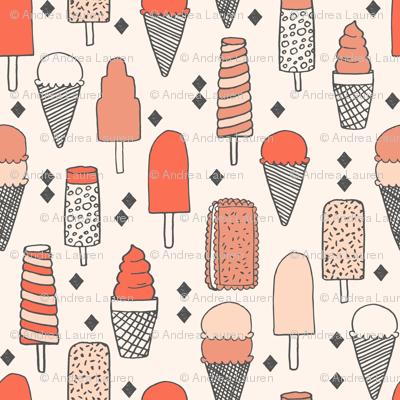 ice cream fabric // sweet blush coral pastel girly summer tropical girls illustration food print