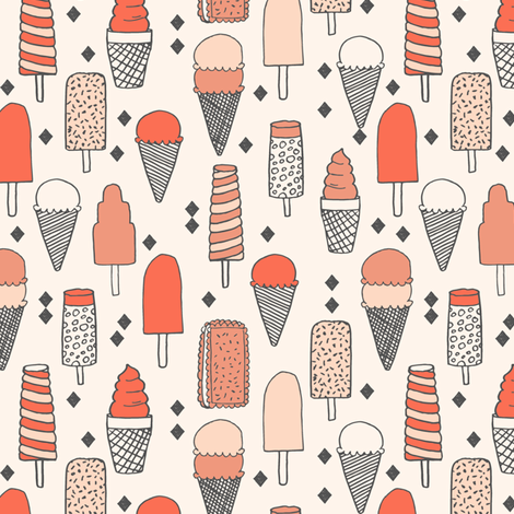 ice cream fabric // sweet blush coral pastel girly summer tropical girls illustration food print fabric by andrea_lauren on Spoonflower - custom fabric