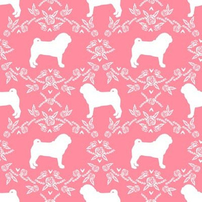 Pug dog  breed silhouette floral fabric pattern flamingo