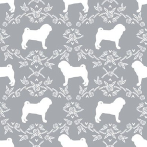 Pug dog  breed silhouette floral fabric pattern grey
