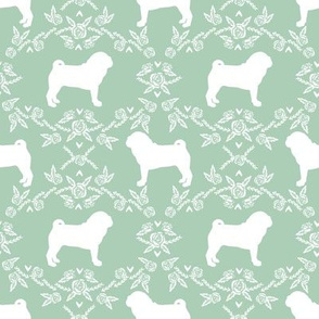 Pug dog  breed silhouette floral fabric pattern mint