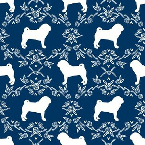 Pug dog  breed silhouette floral fabric pattern navy