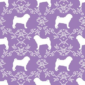 Pug dog  breed silhouette floral fabric pattern purple