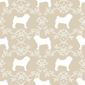 Pug dog  breed silhouette floral fabric pattern sand