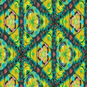TIKI TRIBAL DIAMOND TRIANGLE YELLOW AQUA