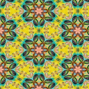 TIKI GEOMETRIC FLOWERS MANDALA YELLOW