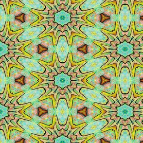 SEA ANEMOME Abstract aqua yellow Tiki tribal