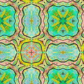 TIKI TRIBAL TILES 5 RECTANGLES SQUARES AQUA