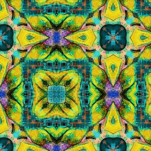 TIKI TRIBAL TILES 7 CHECKERBOARD TURQUOISE YELLOW