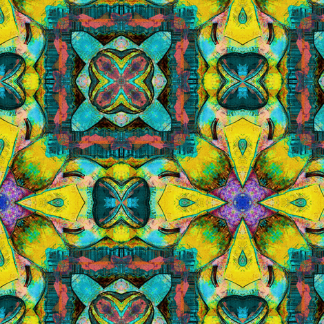 TIKI TRIBAL TILES 6 CHECKERBOARD TURQUOISE YELLOW fabric by paysmage on Spoonflower - custom fabric