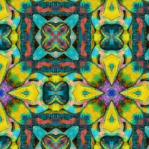 TIKI TRIBAL TILES 6 CHECKERBOARD TURQUOISE YELLOW