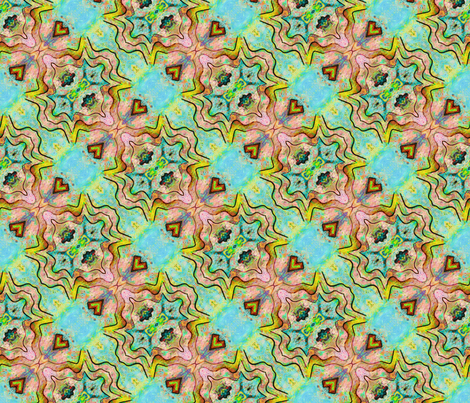 TIKI TRIBAL DIAGONAL STRIPES 2 AQUA TURQUOISE CORAL fabric by paysmage on Spoonflower - custom fabric