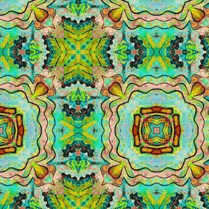 TIKI TRIBAL TILES 4 CHECKERBOARD AQUA GREEN