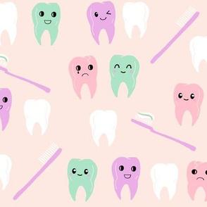 teeth fabric // cute kawaii tooth fabric, dentist teeth design by andrea lauren