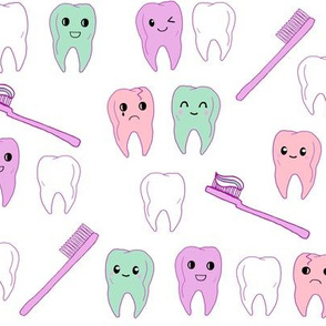 teeth fabric // cute kawaii tooth fabric, dentist teeth design by andrea lauren